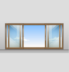 Wooden sliding door vector