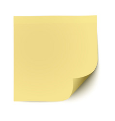 Yellow sticky note with deflected corner isolated vector image