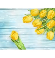 Yellow tulips flowers on wooden planks EPS 10 vector image