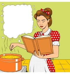 Beauty wife cooking soup retro vector image vector image