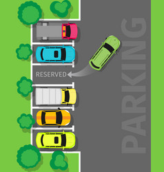 parking top view web banner in flat design vector image