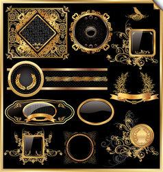 set of black gold - framed labels vector image vector image