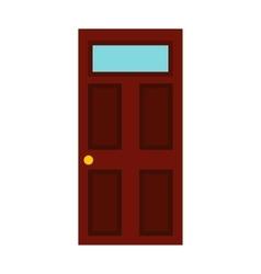 Dark brown wooden door icon flat style vector image