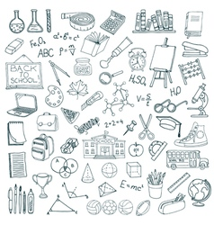 Hand drawn school icons set vector image