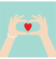 Woman hands in the form of heart Female holding vector image