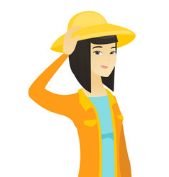 young asian farmer scratching her head vector image