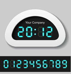 Blue glowing digital numbers - clock or counter vector