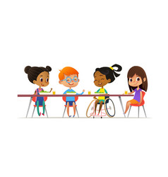 girl in wheelchair sitting at table in canteen and vector image vector image