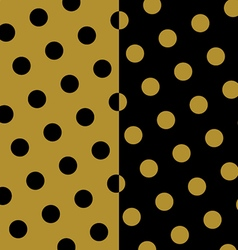 Gold and black polka dots pattern and texture set vector image