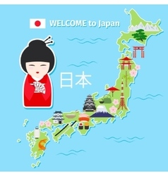 Japan travel map vector image vector image