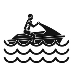 Man on jet ski rides icon simple style vector image vector image