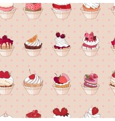 Seamless pattern with different kinds of fruit vector image vector image