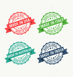 set of rubber stamps for made in usa australia vector image vector image
