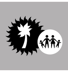 silhouette family vacation coconut tree vector image vector image