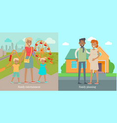 family entertainment and panning social banners vector image vector image