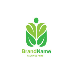 green leaf with shape of human figure logo vector image vector image
