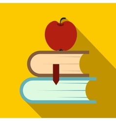 Two books and apple icon flat style vector image vector image