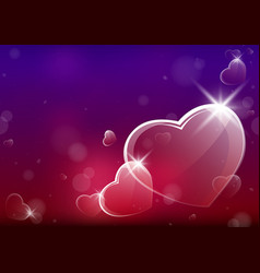 abstract valentine background with glassy hearts vector image