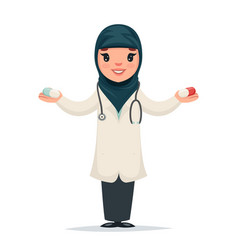 Arab female girl cute doctor with pills in hands vector