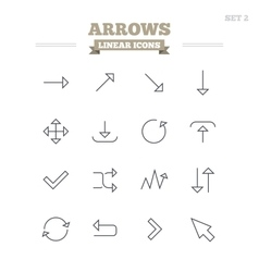 Arrows linear icons set Thin outline signs vector image