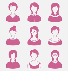 Avatars set front portrait of females isolated on vector