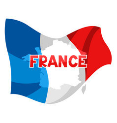 Background with map and flag france vector