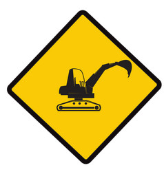 Backhoe on duty caution vector