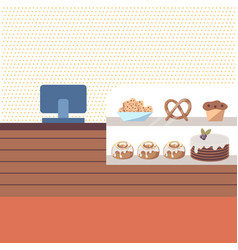 bakery shop interior with brown counter and vector image