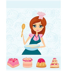 Beautiful girl cooking cakes vector