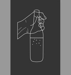 beer poster design the hand holds a bottle vector image