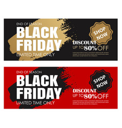 Black friday sale ads banner gold and black color vector