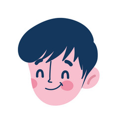 boy face character avatar isolated icon on white vector image