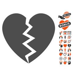 broken heart icon with lovely bonus vector image