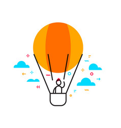 business of a man flying on air balloon time to vector image