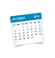 Calendar october 2019 year in paper sticker with vector