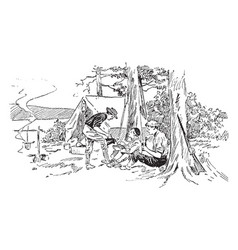 Camping vintage vector