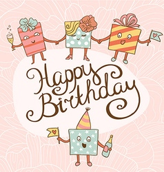 Card for birthday with gifts vector image