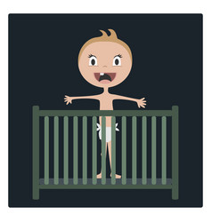 Cartoon baby happy in child bed vector