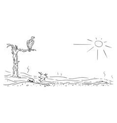 Cartoon drawing of arid desert landscape vector