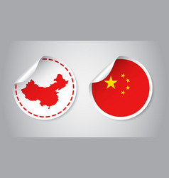 china sticker with flag and map label round tag vector image