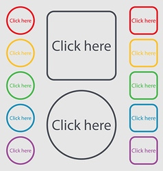 Click here sign icon Press button Symbols on the vector
