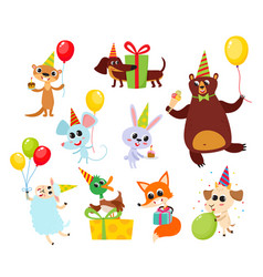 Collection cartoon animals with gifts balloons vector