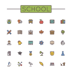 Colored School Line Icons vector image