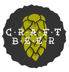 craft beer hand drawn design with a hop vector image