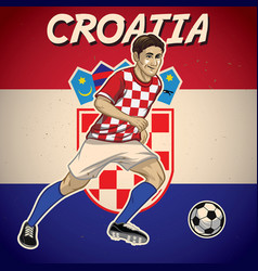 croatia soccer player with flag background vector image