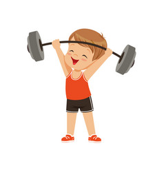 Cute boy lifting heavy barbell kids physical vector