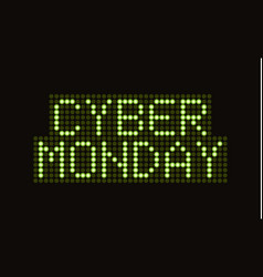 cyber monday sale scoreboard font banner vector image