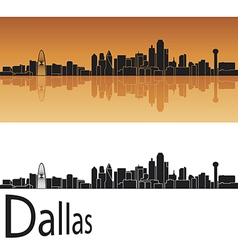 Dallas skyline in orange background vector image