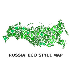 Eco green collage russia map vector