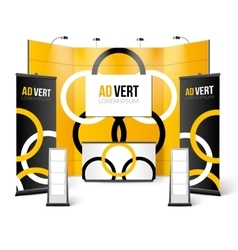 Exhibition Stand Black Yellow Design vector